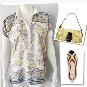 SARA ROKA COLD SHOULDER HANDKERCHEIF SILK TOP SZ S